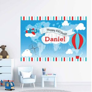 100 Days Plane & Transportation Backdrop,  Birthday Party Decor | PK09 |E038