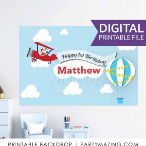AirPlane Birthday Backdrop | Printable Kids Plane Personalized Sign | Big Size Poster Hot Balloon Sign | PK09 | E037