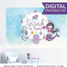 Personalized Mermaid Backdrop Banner | Printable Poster  | Girl Birthday Party | PK16 | E235