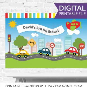 Personalized Transportation Birthday Backdrop Printable Large Scale Sign for your Traffic Airplane Party | PK09 | E042