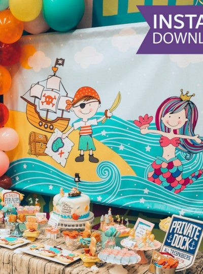 Pirate & Mermaid Banner Backdrop 4×6 Sign | E383