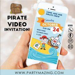 Pirate Video Invitation | Digital Animated Invitation | Toddler Invitation | PK16 | E482