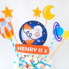 DIY Outer Space Cake Topper | Printable Astronaut Decor | RocketShip Birthday Decor | PK21 | E489