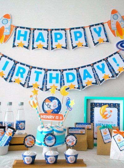 DIY Outer Space Rocket Party Theme Full Set | E485