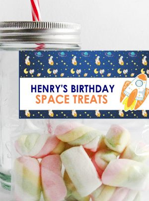 DIY Rocket Ship Bag Topper | Printable Bag Label | Outer Space Party Favor Bag Topper | PK21 | E488
