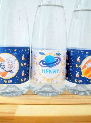 DIY Space Rocket Printable Water Bottle Labels E493