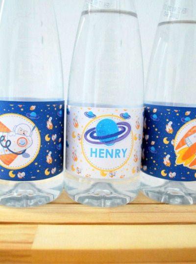 DIY Space Rocket Printable Water Bottle Labels E493
