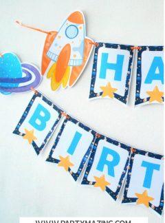 DIY Spaceship Happy Birthday Printable Banner | E486