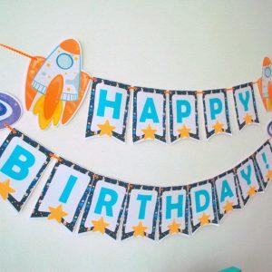 DIY Spaceship Happy Birthday Banner | Printable Outer Space Party Garland | Editable Text | PK21 | E486