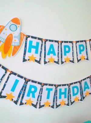 DIY Spaceship Happy Birthday Banner | Printable Outer Space Party Garland | Editable Text | PK21 | E486