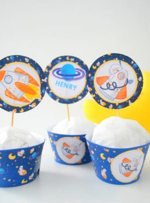 Outer Space Cupcake Toppers | Printable Toppers and Wrappers | Editable Text | Universe Stickers | Space Rocket Party Decor | PK21 | E492