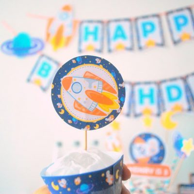 Space Rocket Printable Cupcake Toppers | E492