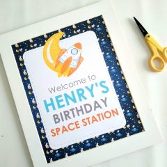 Outer Space Welcome Sign | Printable Party Sign | Editable Text Sign | Space Rocket Birthday Party Sign | PK21 | E491
