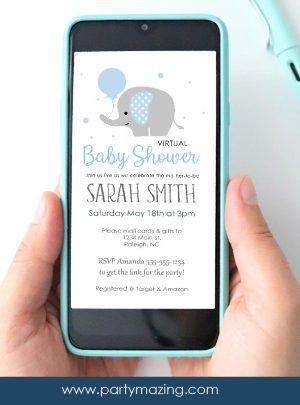 Blue Elephant Baby Shower Invitation | E053
