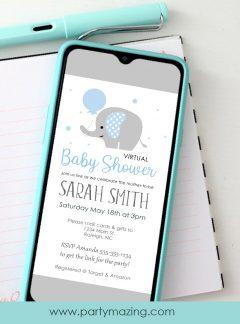 Blue Elephant Baby Shower Invitation | E053