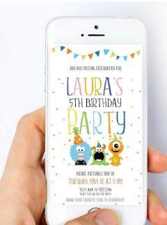 Little Monster Virtual Party Digital Invitation | E293