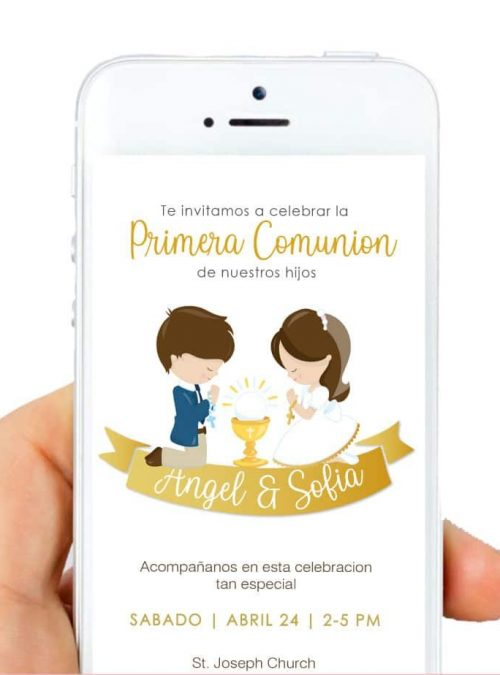 First Communion Phone Digital Invitation - Spanish Version. Invite all your friends to join you in this amazing celebration