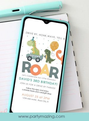 Dinosaur Drive-By Birthday Parade Invitation | E141
