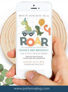 Dinosaur Drive-By Birthday Parade Invitation | E141