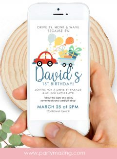 Little Cars Drive By Birthday Parade Invitation | E258