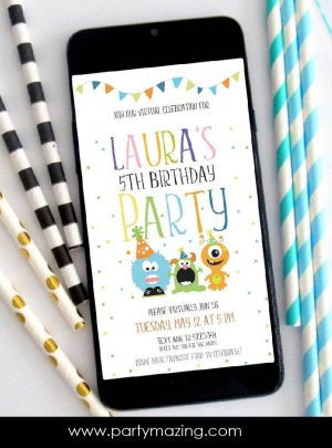 Little Monster Virtual Party Digital Invitation | E293
