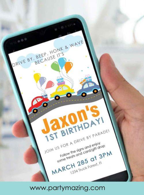 Road Drive By Birthday Parade Invitation | E384