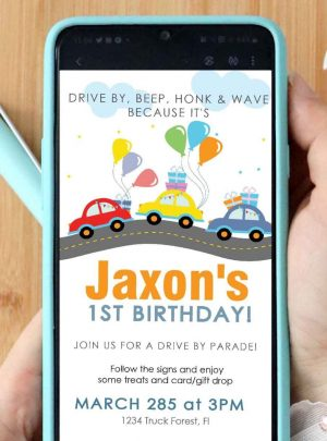 Road Drive By Birthday Parade Invitation | E384