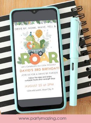 Dinosaur Drive By Birthday Phone Digital Invitation   E438