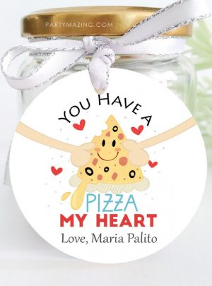 Pizza My Heart Valentines Day Printable Tag | E509
