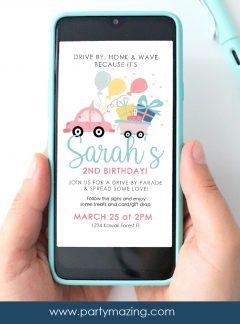 Girly Drive By Birthday Parade Invitation | E341