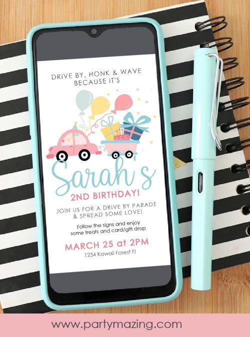 Girly Drive By Birthday Parade Invitation