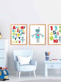3 Printable Robot Wall Art | Printable Playroom Prints |  ABC and Number Modern Nursery Room Decor | Boy Room Wall Art | E459