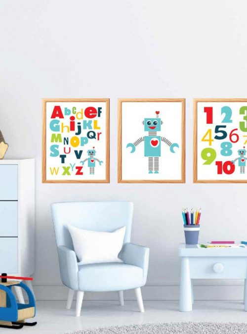 3 Printable Robot Wall Art | Printable Playroom Prints |  ABC and Number Modern Nursery Room Decor | Boy Room Wall Art | E459
