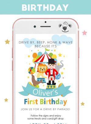 Ringmaster Circus Toddler Birthday Digital InvitationE512