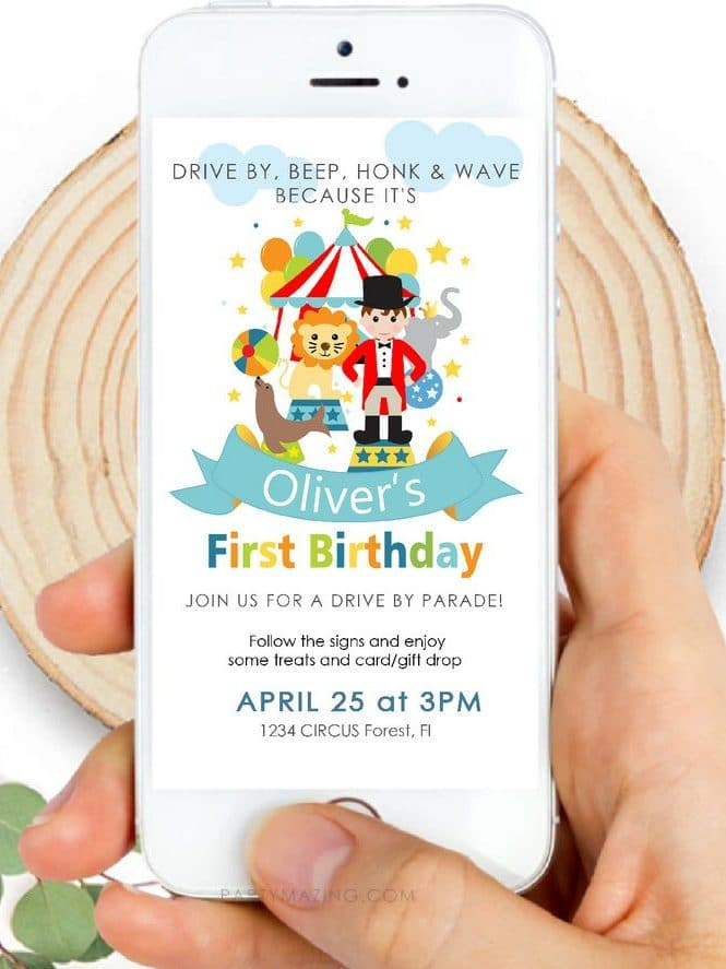CIRCUS FIRST BIRTHDAY DIGITAL INVITATION BY PARTYMAZING