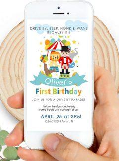 Circus Birthday Drive By Invitation | Circus Ringmaster Phone Digital Invitation | E512
