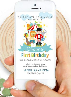 Circus Birthday Drive By Invitation | Circus Ringmaster Phone Digital Invitation | E512