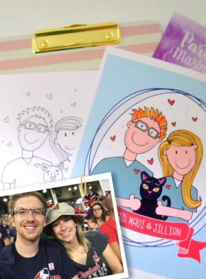 Custom Couple Portrait Printable Ilustration Gift E439
