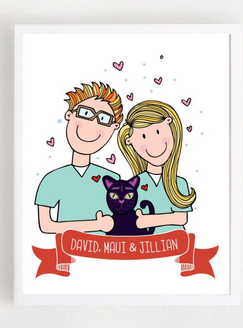 Couple Portrait Ilustration Gift | hand-drawn Family | Medical People Pets Illustration | Portrait Cartoon Style | PK07 | E439