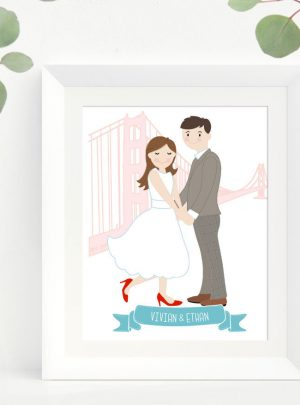 Newly-Wed Custom Couple Portrait Printable Illustration | Cute Hand-Drawn Family Portrait E498