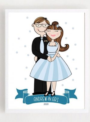 Sweet Couple Custom Portrait Printable Illustration Gift | Hand-drawn Graduation Family Gift E444