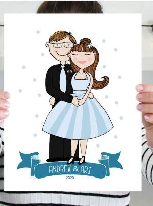 Sweet Couple Custom Portrait Printable Illustration Gift | Hand-drawn Graduation Family Gift E444