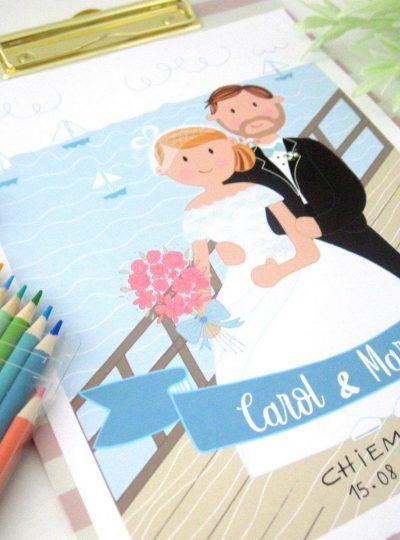 Custom Wedding Portrait Printable Illustration | E477