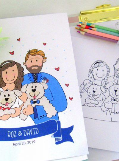 Custom Family Portrait Printable Illustration Gift | Hand-drawn Wedding Cartoon Style | E440