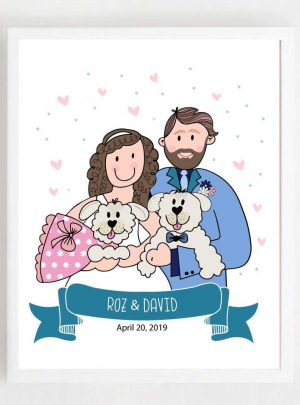 Custom Family Portrait Printable Illustration Gift | Hand-drawn Wedding Cartoon Style | E440