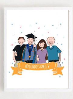 Graduation Custom Portrait Printable Illustration Gift |E441