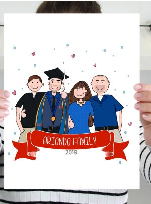 Graduation Custom Portrait Printable Illustration Gift |E441