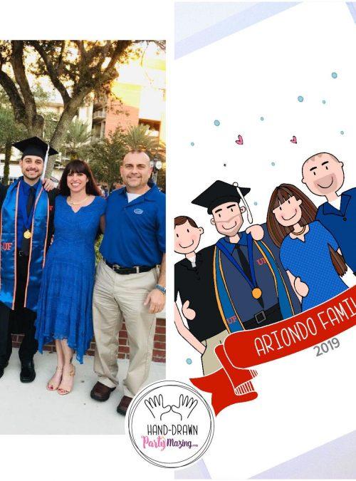 Graduation Portrait Illustration Gift, hand-drawn Graduation Family Gift Illustration Portrait Cartoon Style | PK07|E441