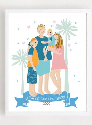 Hand-Drawn Family Portrait Printable Illustration Cartoon Style E443