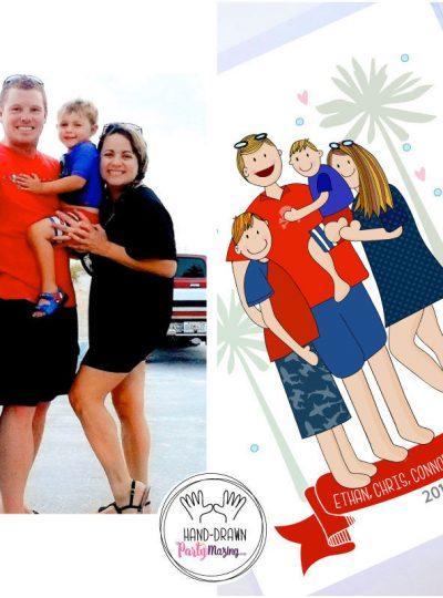 Hand-Drawn Family Portrait Printable Illustration Cartoon Style E443